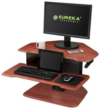 "Load image into Gallery viewer, Eureka Ergonomic 28"" Wide Adjustable Height Corner Standing Desk Converter-Corner Standing Desk-Eureka Ergonomic-Cherry-Ergo Standing Desks"