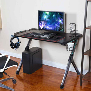 Eureka Ergonomic R1-S Gaming Computer Desk with RGB LED Lights and Gear Holders-Gaming Desks-Eureka Ergonomic-Black-Ergo Standing Desks