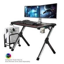 Load image into Gallery viewer, Eureka Ergonomic R1-S Gaming Computer Desk with RGB LED Lights and Gear Holders-Gaming Desks-Eureka Ergonomic-Black-Ergo Standing Desks