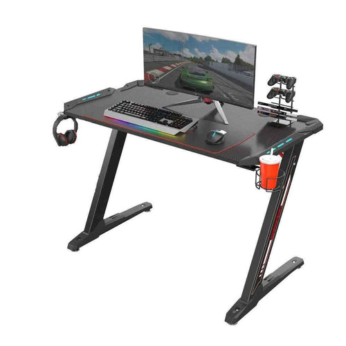 Eureka Ergonomic Z1-S Gaming Desk with LED Lights and Gear Holders-Gaming Desks-Eureka Ergonomic-Black-Ergo Standing Desks