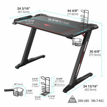 Load image into Gallery viewer, Eureka Ergonomic Z1-S Gaming Desk with LED Lights and Gear Holders-Gaming Desks-Eureka Ergonomic-Black-Ergo Standing Desks