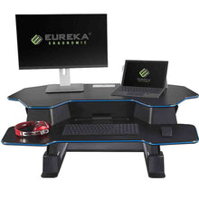 "Load image into Gallery viewer, Eureka Ergonomic 46"" Wide Adjustable Height Standing Desk Converter - Black-Standing Desk Converters-Eureka Ergonomic-Black w/ Blue Accent Stripe-Ergo Standing Desks"