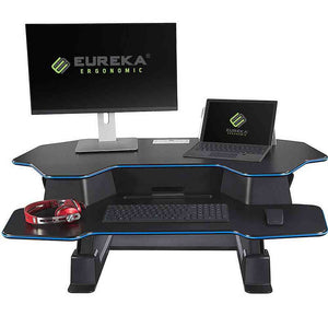 "Eureka Ergonomic 46"" Wide Adjustable Height Standing Desk Converter - Black-Standing Desk Converters-Eureka Ergonomic-Black w/ Blue Accent Stripe-Ergo Standing Desks"