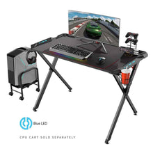 Load image into Gallery viewer, Eureka Ergonomic X1-S Gaming Desk with LED Lights and Gear Holders-Gaming Desks-Eureka Ergonomic-Black-Ergo Standing Desks