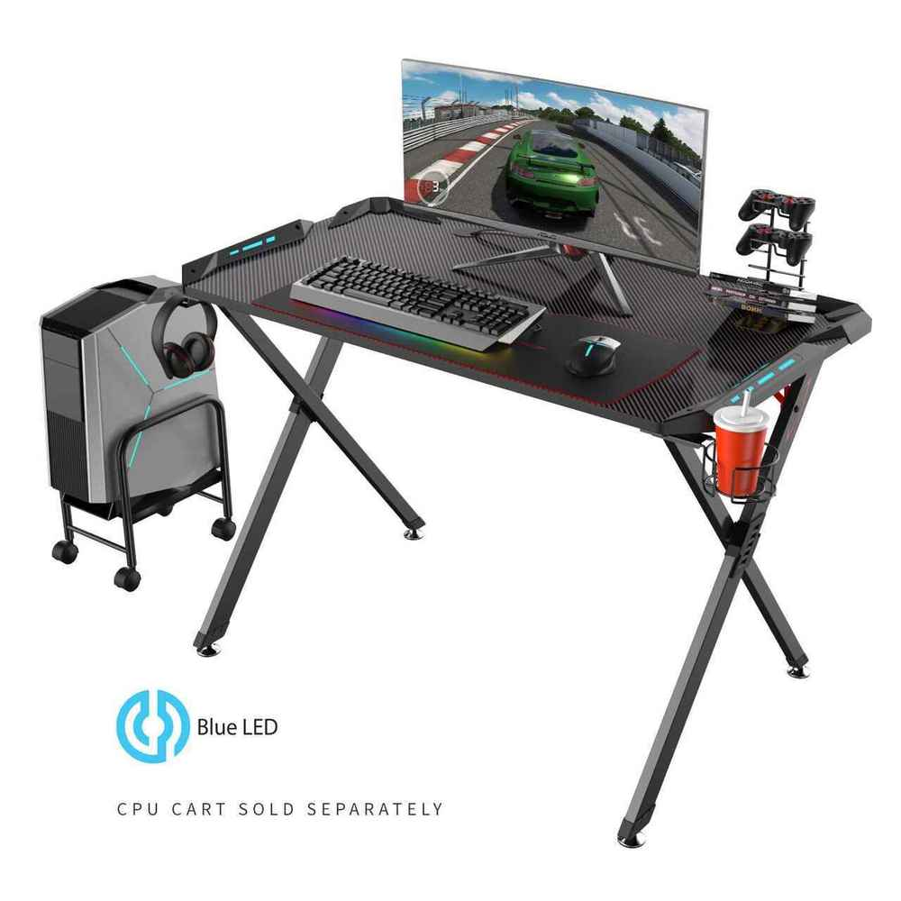 Eureka Ergonomic X1-S Gaming Desk with LED Lights and Gear Holders-Gaming Desks-Eureka Ergonomic-Black-Ergo Standing Desks