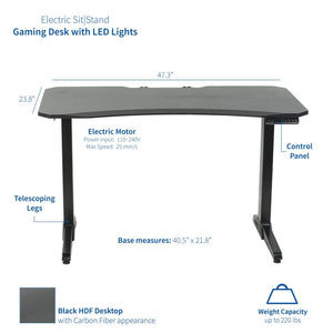 "Vivo 47"" Wide Black Electric Adjustable Height Gaming Desk w/ LED Lights-Gaming Desks-Vivo-Black-Ergo Standing Desks"