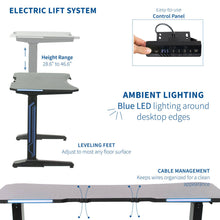 "Load image into Gallery viewer, Vivo 47"" Wide Black Electric Adjustable Height Gaming Desk w/ LED Lights-Gaming Desks-Vivo-Black-Ergo Standing Desks"