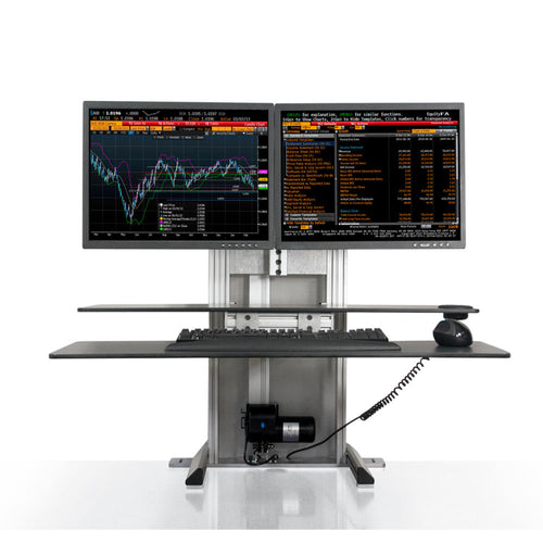Innovative One Touch Electric Dual Monitor Standing Desk Converter-Electric Standing Desks-Innovative-Silver-Ergo Standing Desks