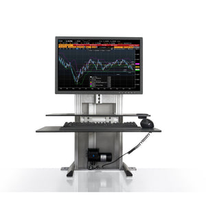 Innovative One Touch Electric Single Monitor Standing Desk Converter-Electric Standing Desks-Innovative-Silver-Ergo Standing Desks