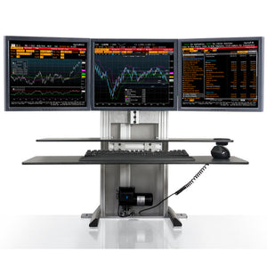 Innovative One Touch Electric Triple Monitor Standing Desk Converter-Electric Standing Desks-Innovative-Silver-Ergo Standing Desks