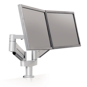 Innovative 7000-8408 Articulating Dual Monitor Arm Mount-Monitor Arms-Innovative-Silver-Ergo Standing Desks