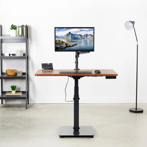 "Vivo 43"" Wide One Column Electric Adjustable Height Standing Desk-Electric Standing Desks-Vivo-Dark Walnut-Ergo Standing Desks"