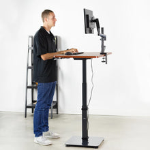 "Load image into Gallery viewer, Vivo 43"" Wide One Column Electric Adjustable Height Standing Desk-Electric Standing Desks-Vivo-Dark Walnut-Ergo Standing Desks"