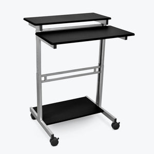"Luxor 40"" Wide Manual Adjustable Mobile Standing Workstation-Mobile Standing Desks-Luxor-Black-Ergo Standing Desks"