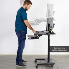 "Load image into Gallery viewer, Vivo 36"" Wide Compact Electric Adjustable Height Mobile Workstation- Black-Mobile Standing Desks-Vivo-Black-Ergo Standing Desks"