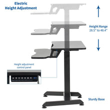 "Load image into Gallery viewer, Vivo 32"" Wide Compact Electric Adjustable Height Standing Desk- Black-Compact Standing Desks-Vivo-Black-Ergo Standing Desks"