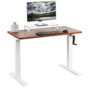 "Vivo 43"" Wide Crank Adjustable Height Sit Stand Desk-Crank Adjustable Desks-Vivo-Dark Walnut-White-Ergo Standing Desks"
