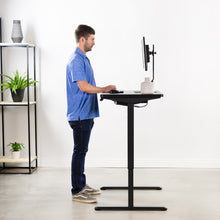 "Load image into Gallery viewer, Vivo 43"" Wide Electric Adjustable Sit Stand Desk with Memory Presets- Black Frame-Electric Standing Desks-Vivo-Black Top-Ergo Standing Desks"