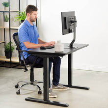 "Load image into Gallery viewer, Vivo 43"" Wide Electric Adjustable Sit Stand Desk with Memory Presets- Black Frame-Electric Standing Desks-Vivo-Ergo Standing Desks"