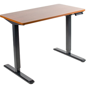 "Vivo 43"" Wide Electric Adjustable Sit Stand Desk with Memory Presets- Black Frame-Electric Standing Desks-Vivo-Dark Walnut Top-Ergo Standing Desks"