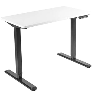 "Vivo 43"" Wide Electric Adjustable Sit Stand Desk with Memory Presets- Black Frame-Electric Standing Desks-Vivo-White Top-Ergo Standing Desks"