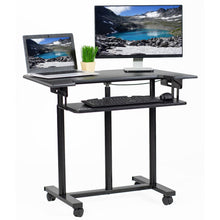 "Load image into Gallery viewer, Vivo 35"" Wide Compact Adjustable Height Mobile Work Desk- Black-Mobile Standing Desks-Vivo-Black-Ergo Standing Desks"