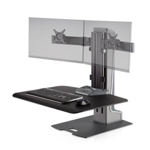 Load image into Gallery viewer, Innovative Winston-E Workstation Electric Dual Monitor Standing Desk Converter-Electric Standing Desks-Innovative-Gray Duotone-Ergo Standing Desks