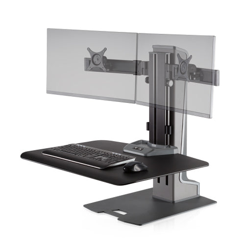 Innovative Winston-E Workstation Electric Dual Monitor Standing Desk Converter-Electric Standing Desks-Innovative-Gray Duotone-Ergo Standing Desks