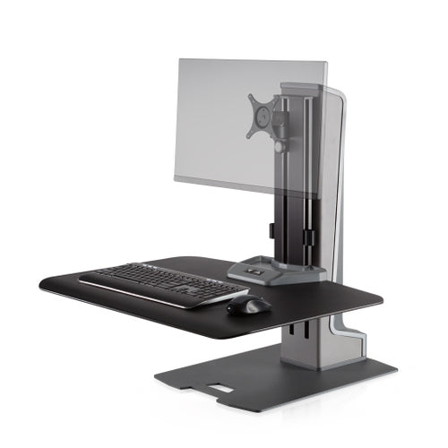 Innovative Winston-E Workstation Electric Single Monitor Standing Desk Converter-Electric Standing Desks-Innovative-Gray Duotone-Ergo Standing Desks