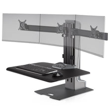 Load image into Gallery viewer, Innovative Winston-E Workstation Electric Triple Monitor Standing Desk Converter-Electric Standing Desks-Innovative-Gray Duotone-Ergo Standing Desks