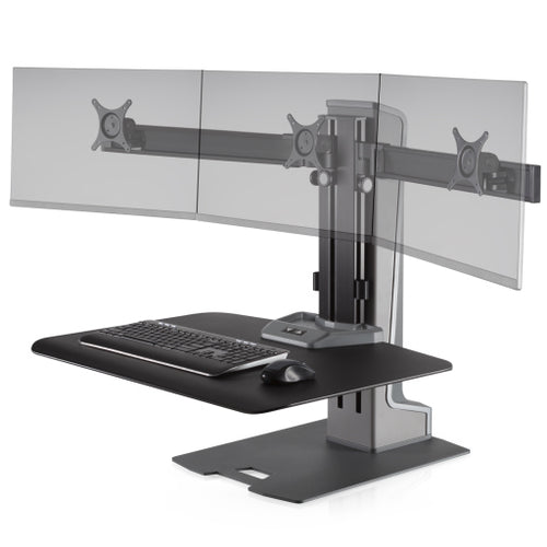 Innovative Winston-E Workstation Electric Triple Monitor Standing Desk Converter-Electric Standing Desks-Innovative-Gray Duotone-Ergo Standing Desks