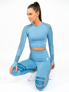 Aphrodite Long Sleeve Seamless Crop Top, Blue