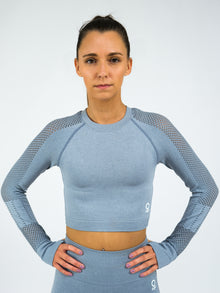 Aphrodite Long Sleeve Seamless Crop Top, Grey