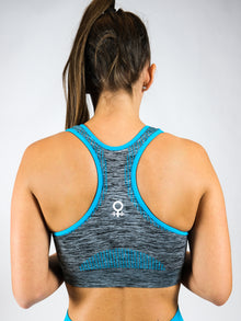 Neon and grey seamless sports bra. AURA, Blue