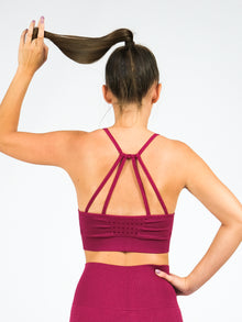 Clio Strappy Back Seamless Padded Sports Bra, Raspberry