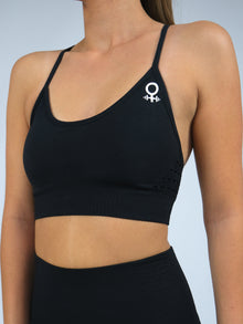 Clio Strappy Back Seamless Padded Sports Bra, Black