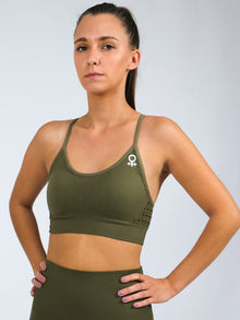 Clio Strappy Back Seamless Sports Bra, Khaki