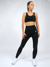 Electra Short Sleeve Seamless Sports Bra.  Black