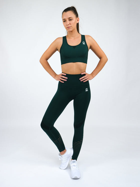 Electra Short Sleeve Seamless Sports Bra.  Green