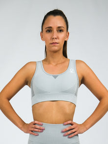 Electra Short Sleeve Seamless Sports Bra.  Grey
