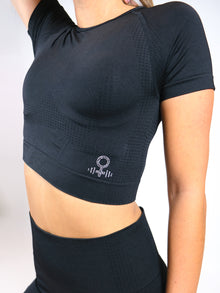 Hera Cap Sleeve Seamless Crop Top with crystal logo