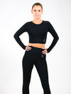Hera Long Sleeve Seamless Crop Top with crystal logo