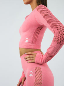 Aphrodite Long Sleeve Seamless Crop Top, Pink