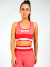 Luna Seamless Sports Bra with Embroidered Logo, Red