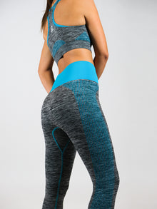 Neon and grey high waist seamless leggings. AURA, Blue