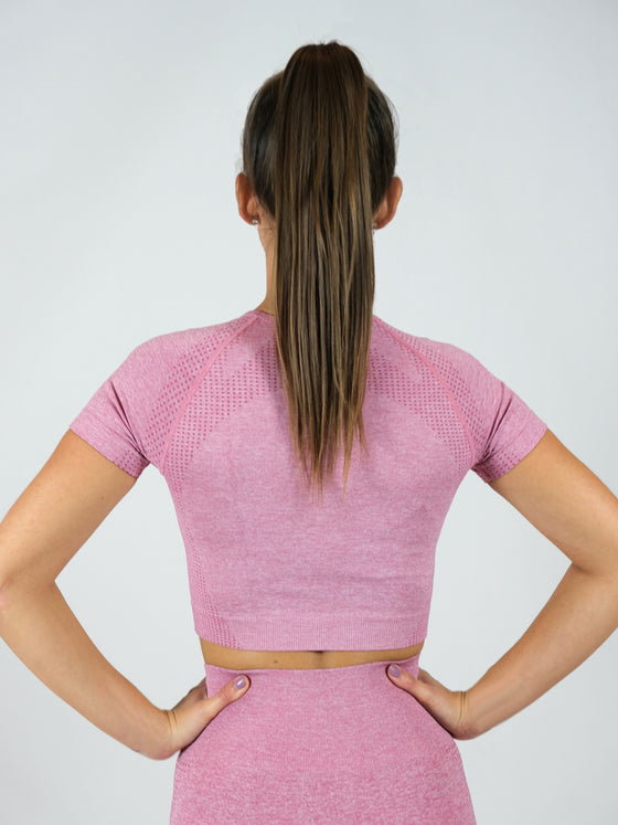 Peitho Seamless Cap Sleeve Crop Top, Pink