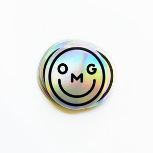 Holographic OMG Smiley Sticker