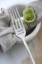 Load image into Gallery viewer, Fork Cancer Hand-Stamped Vintage Silver-Plated Fork