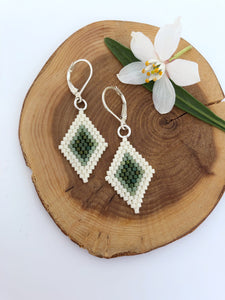 Diamond Shape Beadwork Earrings - Cactus Green