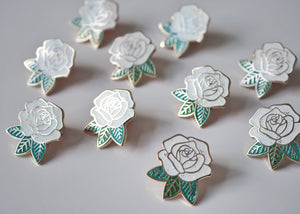 Lapel Pin - Rose - White Sparkle